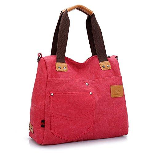 GSPStyle Damen Canvas Schultertasche Tragetasche Schultasche Umhängetaschen Cross Body Damentasche Rot