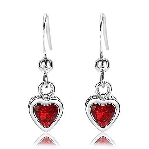 Rizilia Jewellery Heart Cut Red Ruby Color Gemstones Fine CZ 18K White gold Plated Dangle Earrings Simple Modern Elegance [Free Jewelry Pouch]