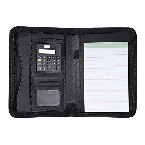 Shumo Padfolio PU Leder A5 Tragbar Business Portfolio Ordner mit Taschenrechner für Gesch?Ftsmann oder Interview