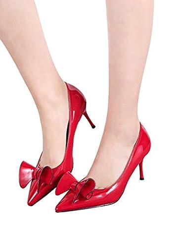 Pointu Mariage Talons hauts Femmes Rouge Robe Escarpins Doux Bowknot Stiletto De BIGTREE 39 EU