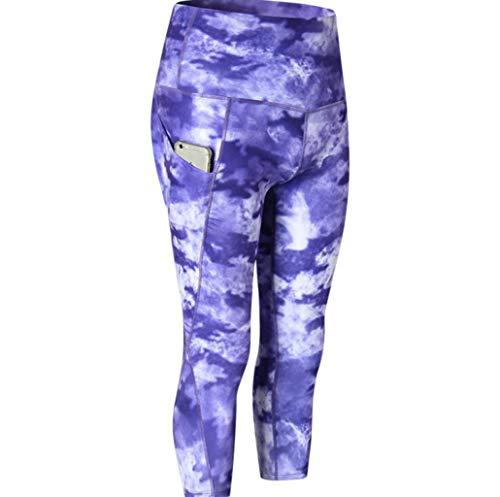 JSHFD Hohe Taille heraus Pocket Cropped Sweatpants und in voller Länge Yogahosen - Frauen Fitness Sport Gym Laufen Yoga Athletic Pants (Farbe : 5, größe : M) 5-pocket-cropped Pants