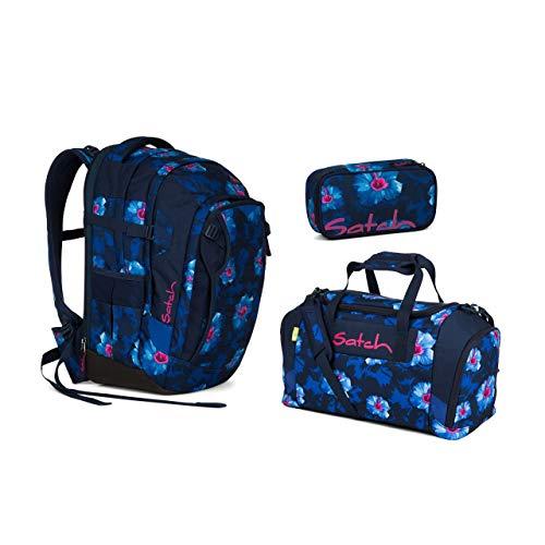 Satch Match - 3tlg. Set Schulrucksack - Farbauswahl - Rucksack+Sporttasche+Schlamperbox (Satch Match Waikiki Blue Schulrucksack Set 3tlg.)