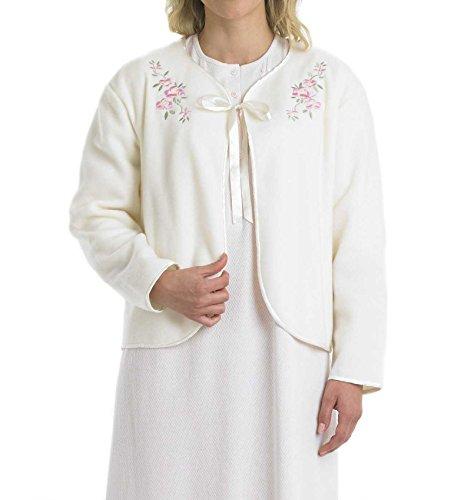 Slenderella Bettjacke, für Damen, weiches Polarfleece, mit Band, floral gesticktes Detail, weiß (Ribbon-fleece Pink)