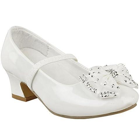 Chaussures à petit talon- strass/noeud - pour mariage/fête - bébé/fille - blanc verni - EUR 24