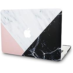 KECC MacBook Air 13 Pouces Coque Rigide Case Cover pour MacBook Air 13.3 Coque {A1466/A1369} (Marbre Blanc Rose Noir)