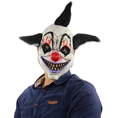 QWEASZER Room Escape Requisiten Bar Devil Clown Maske Horror Kopfbedeckung Haunted House Zombie Maske Halloween Kostümpartys Maskeraden Terror Theme Party,A-OneSize
