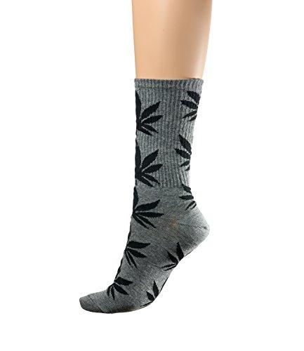 Socken Ganja Blatt Einmalige Anlage Weed Blatt drucken Unisex Baumwolle hohe Crew Athletische Rasta MFAZ Morefaz Ltd Socks Gray Black)