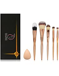 Start Makers Makeup Brush Set - 5pcs Professional Cosmetics Kabuki Brushes - Practical Groove Design Make Up Brushes - Premium Rose Gold Blush Brushes