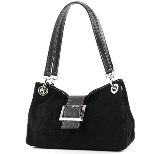 modamoda de - Made in Italy ital. Mesdames sac à main fourre-tout Satchel sac en cuir suède Petit TL02, Präzise Farbe (nur Farbe):Schwarz