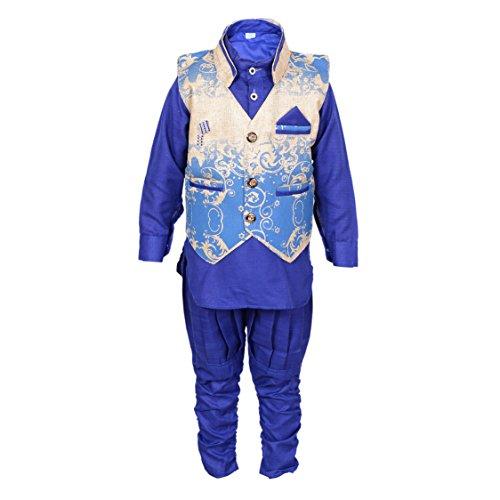 ahhaaaa's Kurta, Pant with Waistcoat for Boys BLU102_Blue Color 6-7 Years