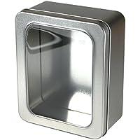Kleine Caja de metal con ventana en la tapa, alimentos Adecuado, de Caja Fragrance–Real Metal Tarro para galletas Bote Tin Can ligero Estable resistente versátil Plata Premium