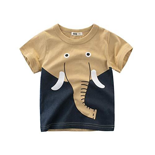 Camiseta De Manga Corta para Chicos Niñas Estampado Animal De Algodón Manga Corta Arriba Niño Niña1-10 Años Camisetas Tops Trajes,Elefante Caqui,100cm