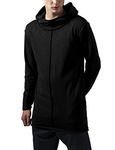 Urban Classics Long Slub Terry Open Edge Hoody, Felpa Uomo, Nero (Black 7), Medium