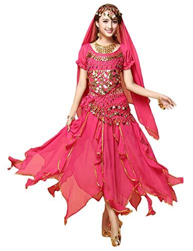 besbomig Professionel Damen Bauchtanz Kostüm - 6 Stück Kurze Ärmel Sequenziert Indischer Tanzsatz Performance-Kleidung