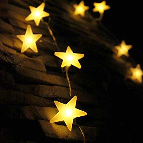LED Lichterkette mit batterie, von myCozyLite, 40 warmweiße Sterne, für Innen und Außen Dekoration wie Weihnachten, Geburtstag, Garten, Party, Zimmer, 5m