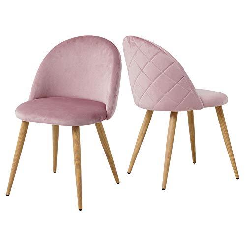 CLIPOP Esszimmerstuhl 2er Set, Retro Style Velvety Stoffbezug Küchenstühle, Gepolsterter Akzentstuhl mit Holzfarbe...