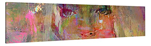 Premium Leinwanddruck 120x30 cm – Thoughtful Girl – XXL Kunstdruck auf Leinwand auf 2 cm Holz-Keilrahmen – Handgemachte Fotoleinwand in Deutsche Markenqualität für Wohn- & Schlafzimmer von Joe Ganech x Gallery of innovative Art