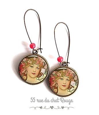Boucles d'oreilles cabochon, art peinture, alfons mucha, portrait femme, romantique, tons roses