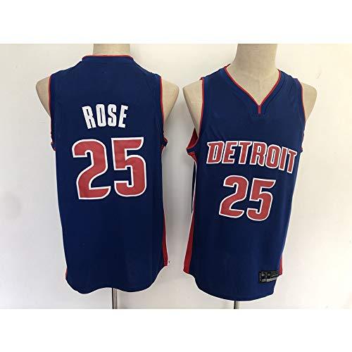 NBA Männer-Basketballtrikot, Kolben # 25 ROSE Detroit Vintage Basketballuniform Fitness-T-Shirt-Top Weste Swingman Trikots,XL(185cm/85~95kg)