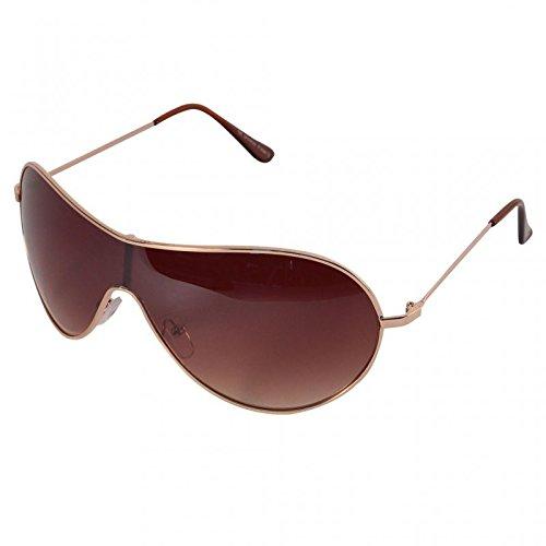 Chic-Net Sonnenbrille Monoscheiben Unisex Brille Bügelkappen Metall getönt 400 UV kupfer braun