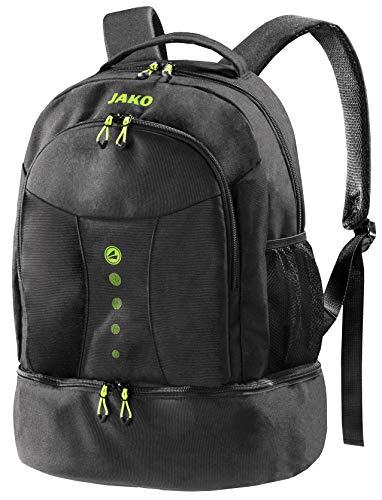 schwarzer Rucksack mit Akzenten in Lime, Striker von Jako - Das Platzwunder ist der ideale Wanderrucksack, Schultasche oder Aktentasche - Dieser Freizeitrucksack passt Immer
