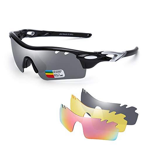JIM HALO Polarisiert Sport Sonnenbrille für Damen Herren UV400 Schutz Radfahren Laufen Angeln Brille 3 Austauschbar Linsen Schwarz