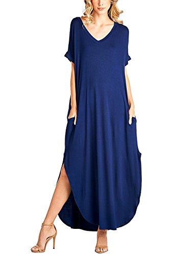 Yidarton Damen Sommerkleid Casual V-Ausschnitt Kurzarm Tasche Side Split Beach Long Maxi Kleid (S, Blau)