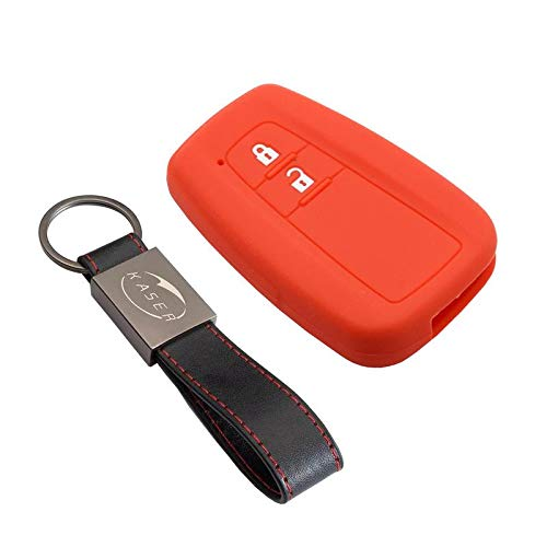 kaser Funda Silicona para Llave Toyota – Carcasa Llaveros 2 Botones para Coche Prius Auris Aygo RAV4 Yaris Vios Cover Case Protección Remoto Mando Auto Keyless (Rojo)