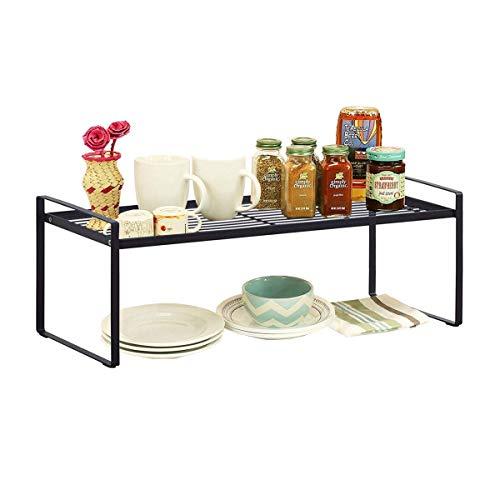XINGDOZ Küchenregal Aufbewahrung, 2 Tier Küchen Unterschrankregal, Haushaltsregal Küchenschrank, Gewürze Lagerregal Doppelboden Lagerung Halterung -