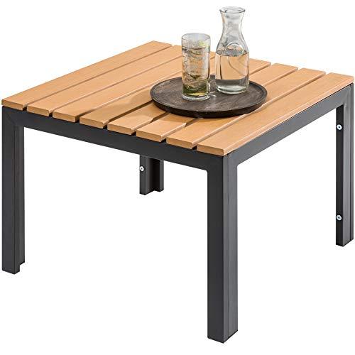 Invicta Interior Wetterfester Garten Tisch Orlando Lounge 60cm schwarz stabile Beine aus Stahl Outdoor Gartentisch Outdoortisch -