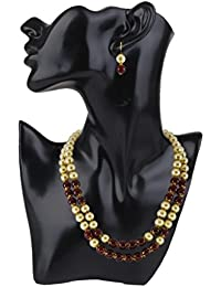 Veechi Jewellery Exclusive Pearl Maroon Ruby Stylish Necklace Set With Earrings For Women And Girls.