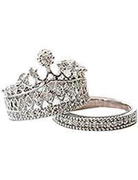 2 pcs wicemoon joyas Reina fiesta dulce Rhinestone Corona moldura Anillo Rhinestone anillos de corona princesa