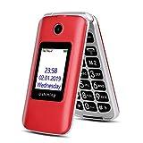 """Ushining 3G Telefono Cellulare per anziani, Telefono Cellulare con Tasti Grandi con Base (Dual SIM, 2G + 3G, 2.8"""" Schermo) Rosso [Italia]"""