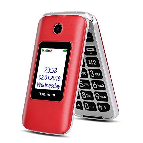 3G Seniorenhandy Ohne Vertrag, Großtasten Klapphandy Einfach Mobiltelefon mit Ladestation (Großen-Taste, 2,8 Zoll LCD, FM Radio, Dual Display, Dual SIM 2G + 3G) - Rot