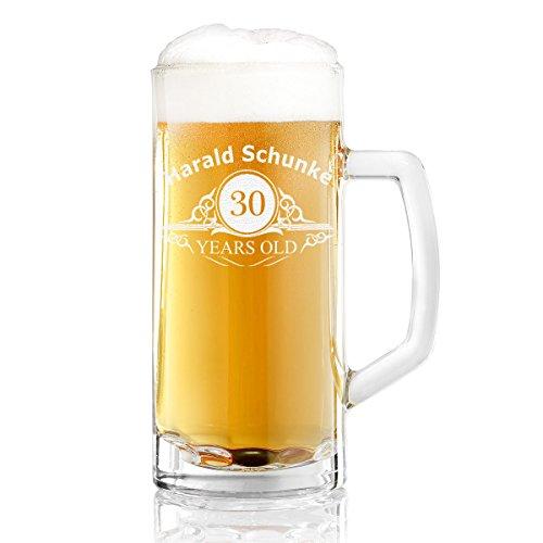 Bierkrug mit Gravur eines Namens und Jahreszahl – Bierseidel mit Motiv Altersangabe Years 0,3l