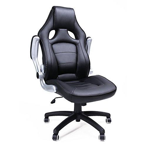 Songmics Black PU Office Desk Chair Racing Sport Computer Chair OBG62B