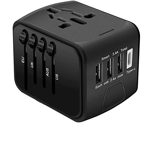 BEIQIHHY New International Travel Netzstecker Worldwide Universal Plugs Converter, UK/EU/US/AU mit 3 USB Lade LED Power Indicator Adapter für Multi-Nation-Reisen