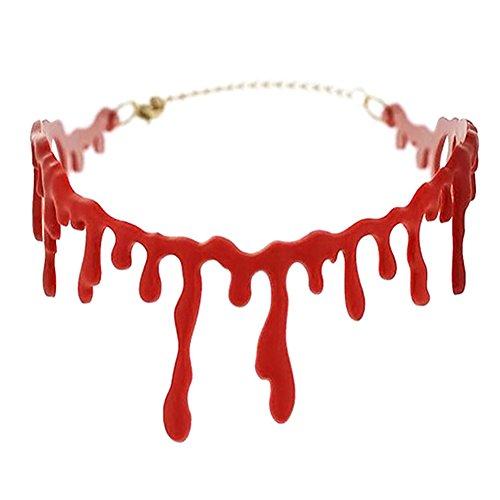 Demarkt Blutige Kette Blutstropfen Halskette Halloween Accessoire Kostüm Schmuck Zubehör Rot