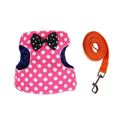 tJexePYK Einstellbare Haustier Seil Weste Art-Katze-Hundegeschirr Nylonband Halsband Mit Leine Rosa Punkt Typ S 1PC Pet Supplies