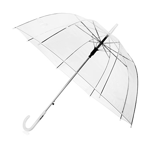 Transparente schirm,Kompakt,Licht Leicht zu tragen,Transparent Regenschirm,Regenschirm Automatischer,Regenschirm mit automatischem Knopf,Langer Regenschirm,wasserfestem PVC-Material