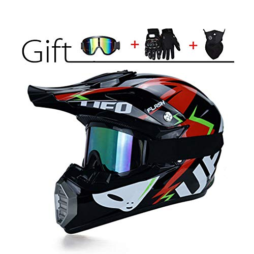 LEENY Casco di Motocross Set con Occhiali/Maschera/Guanti, Adulti Casco da Cross Moto Sports DH Enduro off-Road Caschi ATV MTB Quad Casco da Motociclista per Uomini Donne, Tema UFO,Black,M
