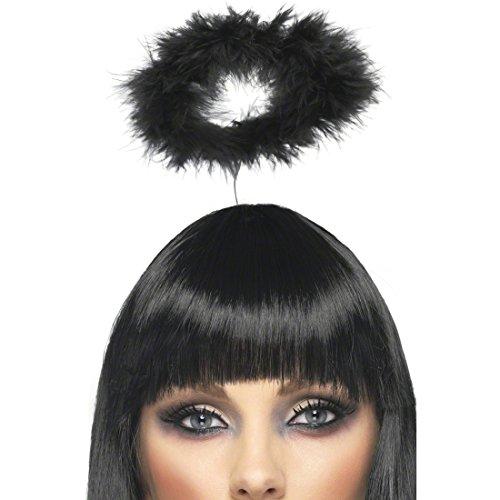 Amakando Kopfschmuck Engel Schwarzer Heiligenschein Engel Haarreif schwarz Engel Accessoire Kostüm Zubehör