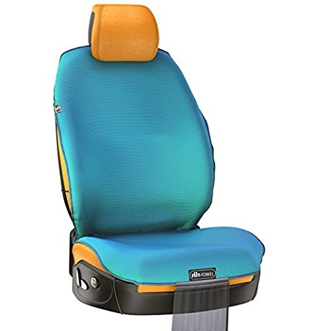 TiiL 1 Fit-Towel Car Seat Cover Microfiber Auto Seat Protector Quick-Dry Absorbent Silicon Secure Non-Slip Odor Free Universal Fit - Machine Washable Car Seat Protector with Storage Bag by TiiL (Blue)