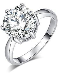 a142bc8e18fd35 Yoursfs Bague Argent mariage Unisex 6 griffes Femme Homme 18k plaqué Or  blanc Solitaire en Diamant