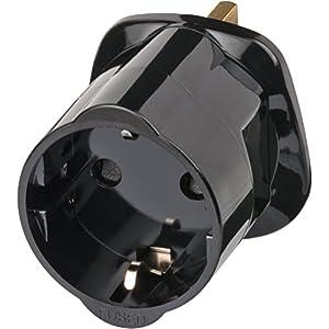 Brennenstuhl Reisestecker / Reiseadapter (Reise-Steckdosenadapter für: England Steckdose und Euro Stecker) Farbe: schwarz