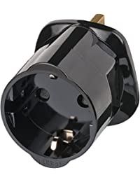 Brennenstuhl Reisestecker Adapter, Steckdosenadapter Reise (Für: England Steckdose und Euro Stecker) Farbe: schwarz
