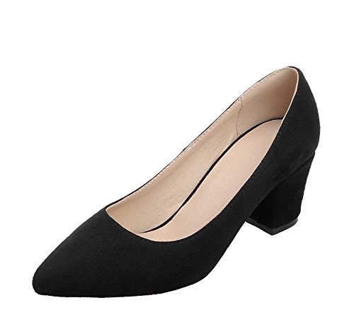 AgeeMi Shoes Mujer Sin Cordones Tacón Medio Sólido Suede de Salón,EuD67 Negro 37