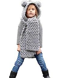 Amlaiworld Otoño invierno lana sombreros de punto Niñas bebé chal capucha Gorro  bufanda 7662db4288f