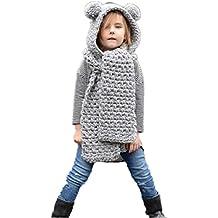 Amlaiworld Otoño invierno lana sombreros de punto Niñas bebé chal capucha  Gorro bufanda d267a97c836