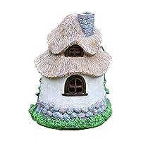HH Home Hut Garden Fairy Brown House Solar Garden Ornament